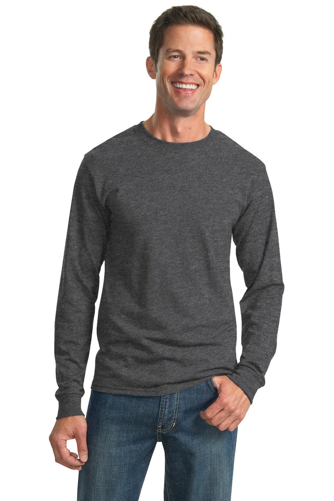 Jerzees 29LS Dri-Power 50/50 Cotton/Poly Long Sleeve T-Shirt - Black Heather - HIT A Double