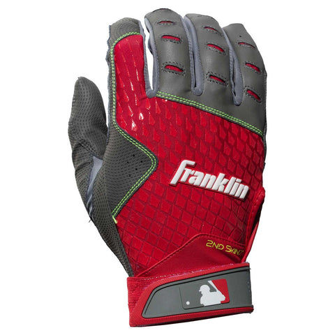Franklin 2nd-Skinz Adult Batting Gloves - Gray Red - Batting Gloves - Hit A Double