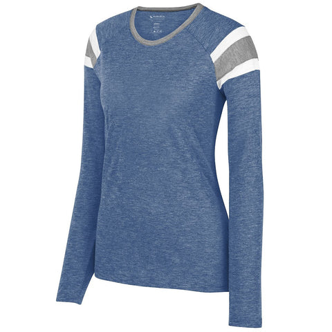 Augusta 3012 Ladies Long Sleeve Fanatic Tee - Royal Slate White