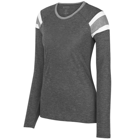 Augusta 3012 Ladies Long Sleeve Fanatic Tee - Slate Athletic Heather White