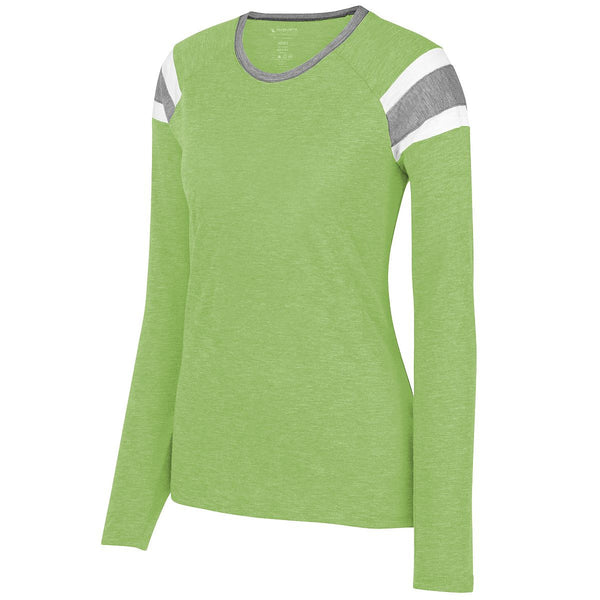 Augusta 3012 Ladies Long Sleeve Fanatic Tee - Lime Slate White