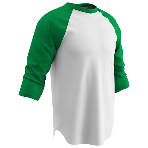 Champro BS8-BS8Y Cotton 3/4 Sleeve Jersey - White Kelly Green