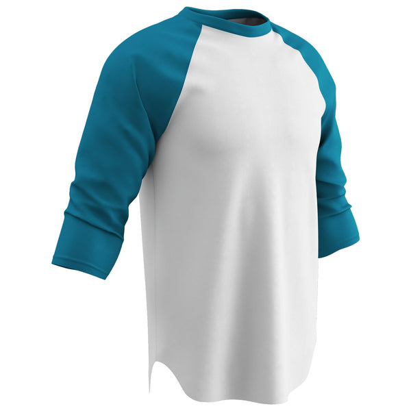 Champro BS8-BS8Y Cotton 3/4 Sleeve Jersey - White Teal