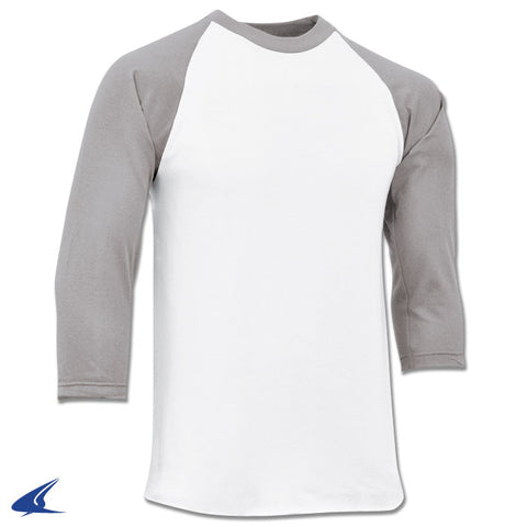 Champro BS8-BS8Y Cotton 3/4 Sleeve Jersey - White Gray