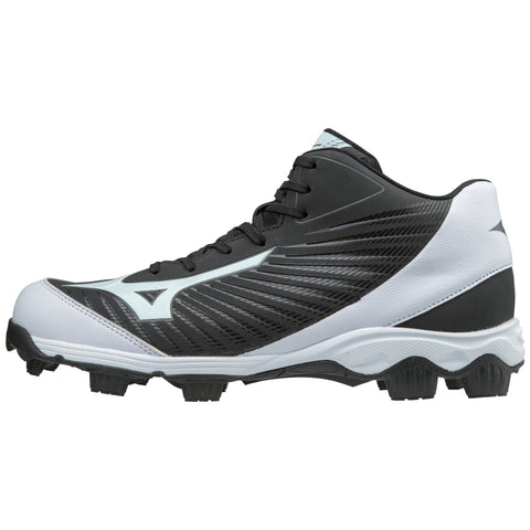 Mizuno Men's 9-Spike Advanced Franchise 9 Mid Molded Cleats - Black White - HIT A Double