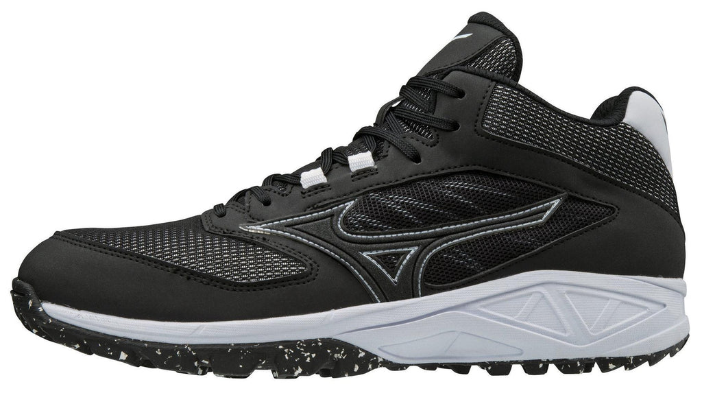 Mizuno Dominant All-Surface Mid Turf Shoe - Black White – HIT A Double 0cbf9d135