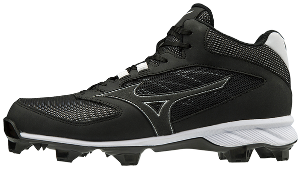 Mizuno 9-Spike Advanced Dominant TPU Mid Cleats - Black White - HIT A Double
