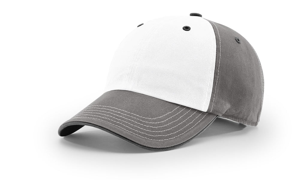 Richardson 322 Washed Chino Charcoal Cap - White Charcoal Black