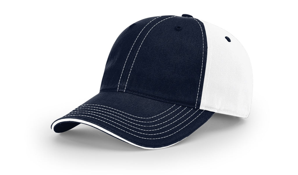 Richardson 325 Washed Chino Sandwich Visor Cap - Navy White Split