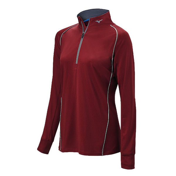 Mizuno Comp 1/2 Zip Hitting Top - Maroon