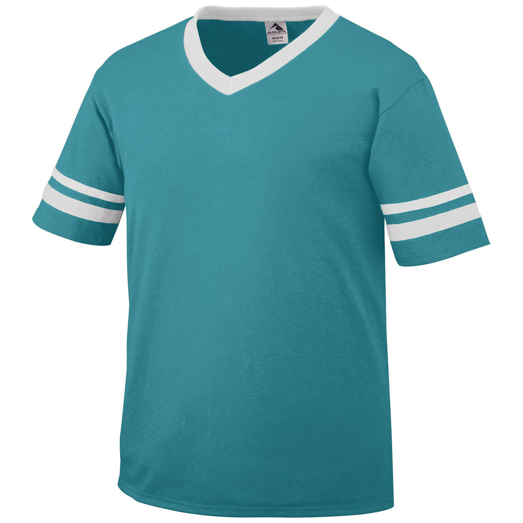 Augusta 360 Sleeve Stripe Jersey - Teal White - Band, Baseball Apparel, Softball Apparel, Bowling, Fanwear, Soccer, Training/Running - Hit A Double