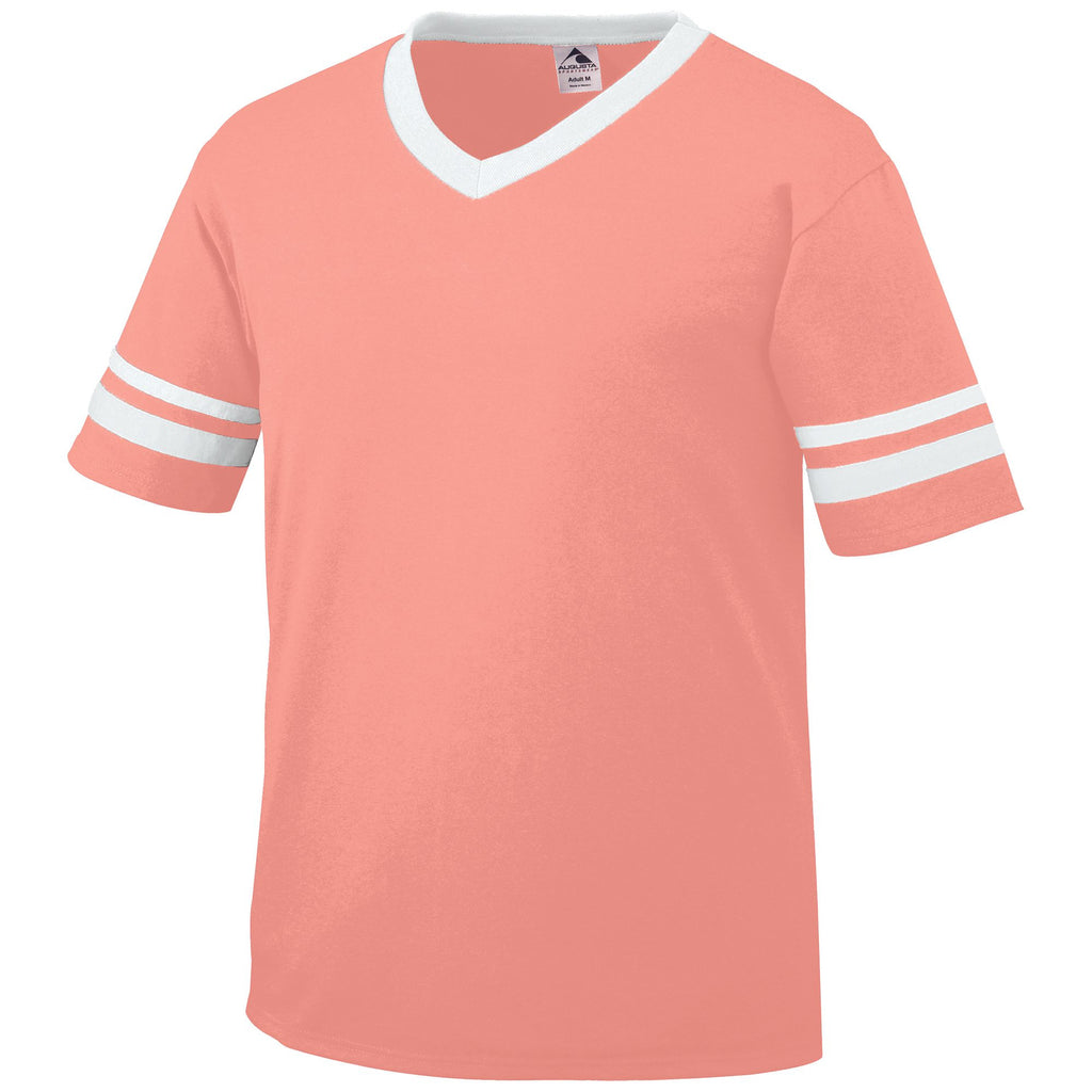 Augusta 360 Sleeve Stripe Jersey - Coral White - Band, Baseball Apparel, Softball Apparel, Bowling, Fanwear, Soccer, Training/Running - Hit A Double