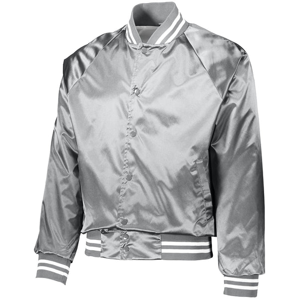Augusta 3610 Satin Baseball Jacket/Striped Trim - Metalic Silver White