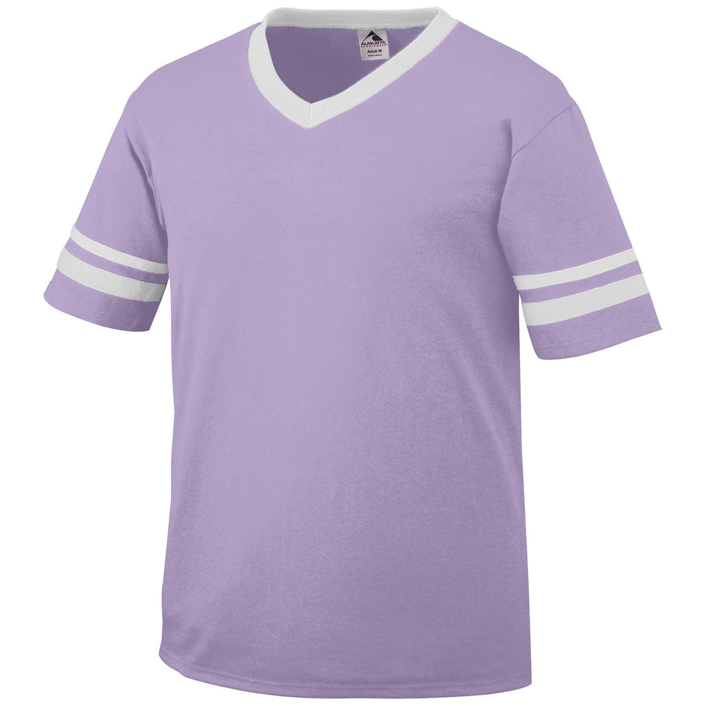 Augusta 361 Sleeve Stripe Jersey - Light Lavender White - Band, Baseball Apparel, Softball Apparel, Bowling, Fanwear, Soccer, Training/Running - Hit A Double