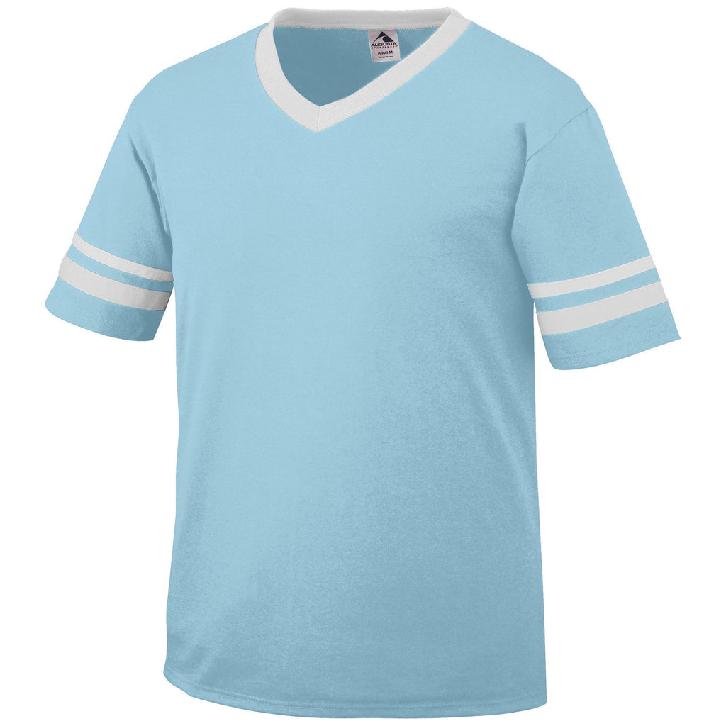 Augusta 361 Sleeve Stripe Jersey - Aqua White - Band, Baseball Apparel, Softball Apparel, Bowling, Fanwear, Soccer, Training/Running - Hit A Double