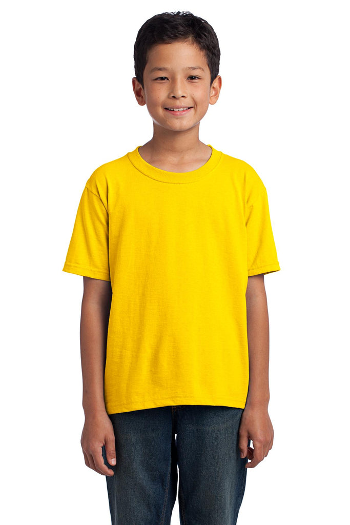 Fruit of the Loom 3930B Youth HD Cotton 100% Cotton T-Shirt - Yellow - HIT A Double