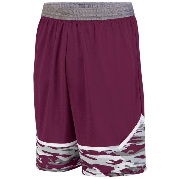 Augusta 1118 Mod Camo Game Short Youth - Maroon Graphite White
