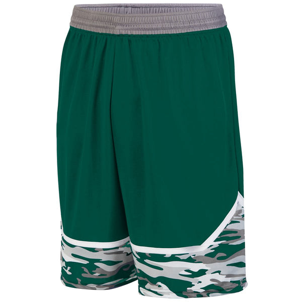 Augusta 1118 Mod Camo Game Short Youth - Dark Green Graphite White