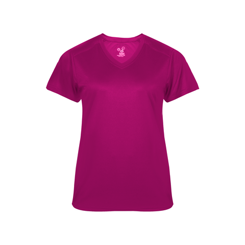 Badger 4062 Ultimate Softlock Ladies V-neck Short Sleeve Tee - Hot Pink - Baseball Apparel, Softball Apparel, Football, Soccer, Tennis, Lacrosse/Field Hockey, Band, Bowling, Training/Running, Casual Wear - Hit A Double - 1