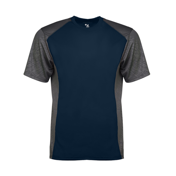 Badger 4158 Line Embossed Colorblock Tee - Navy Graphite