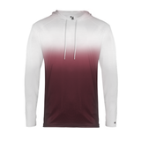 Badger 420500 Ombre Hood Tee - MAroon Ombre - HIT A Double