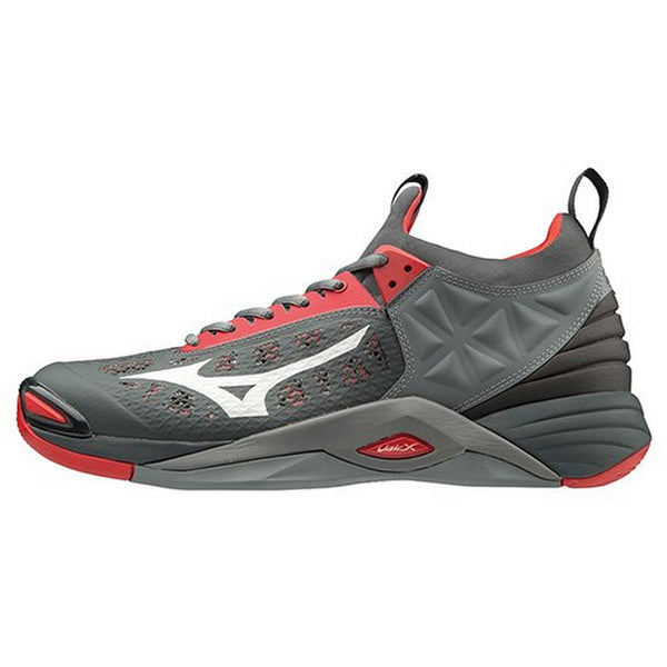 Mizuno Wave Momentum Mens Volleyball Shoes - Gray High Risk Red - HIT A Double