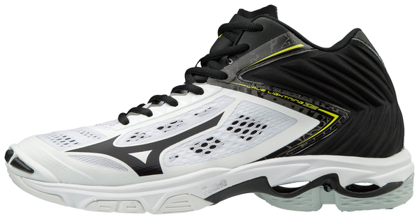 Mizuno Wave Lightning Z5 Mens Mid Volleyball Shoes - White Black - HIT A Double