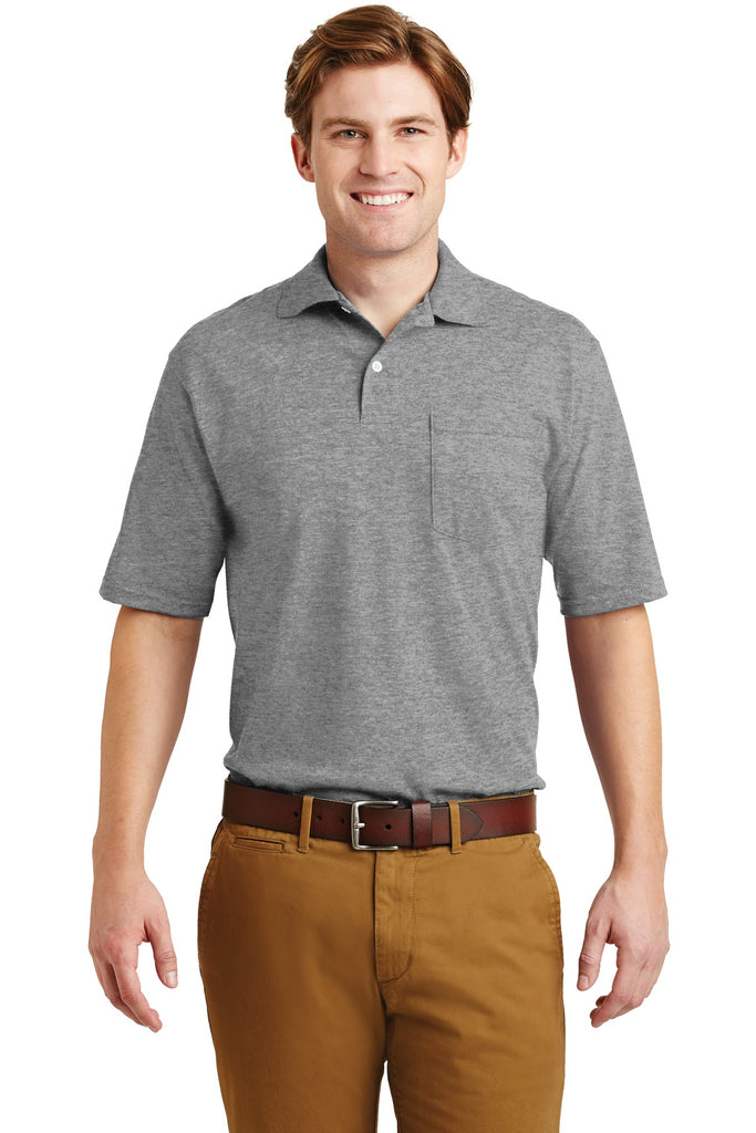 Jerzees 436MP -Spotshield 56-Ounce Jersey Knit Sport Shirt with Pocket - Oxford - HIT A Double