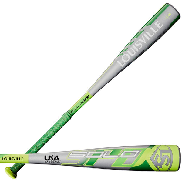 "Louisville Slugger 2020 Solo SPD (-13) USA Approved 2 1/2"" Bat - Green Gray - HIT A Double"
