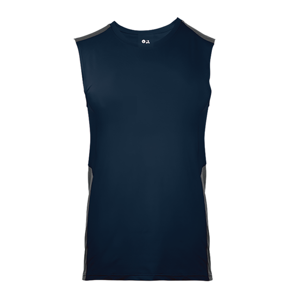 Badger 4558 Line Embossed Fitted Sleeveles - Navy Graphite