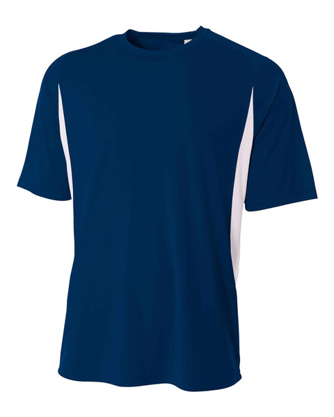 A4 N3181 Cooling Performance Color Blocked Short Sleeve Crew - Navy White