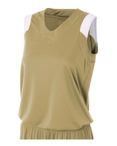 A4 NW2340 Women's Moisture Management V-Neck Muscle - Vegas Gold White