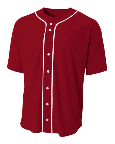 A4 N4184 Short Sleeve Full Button Baseball Top - Cardinal White