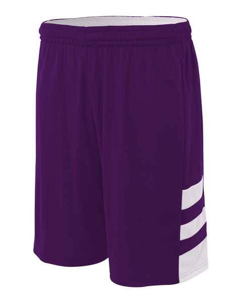 "A4 NB5334 8"" Reversible Speedway Short - Purple White"