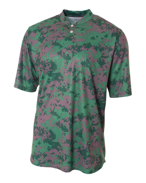 A4 N3263 Camo 2-Button Henley - Forest Camo - HIT A Double