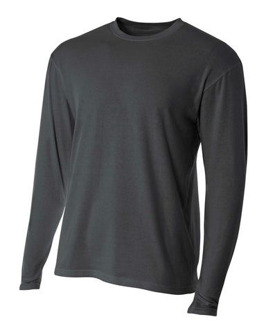 A4 N3221 Fusion Cotton Long Sleeve Performance Crew - Charcoal