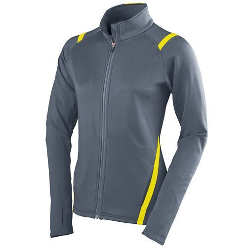 Augusta 4811 Girls Freedom Jacket - Graphite Power Yellow - Softball Apparel, Outerwear, Volleyball Apparel Girls - Hit A Double - 1