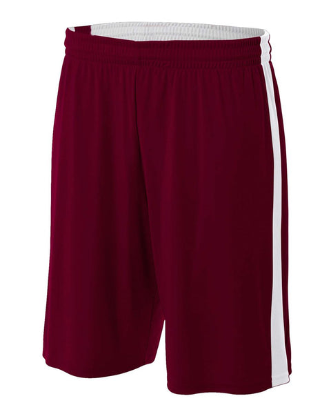 "A4 NB5284 Youth Reversible Moisture Management 8"" Short - Maroon White"