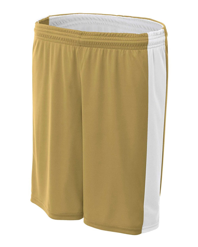 "A4 NW5284 Women's Reversible Moisture Management 8"" Short - Vegas Gold White - HIT A Double"