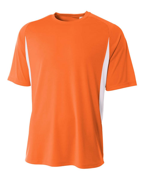 A4 N3181 Cooling Performance Color Blocked Short Sleeve Crew - Orange White