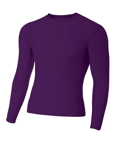 A4 N3133 Long Sleeve Compression Crew - Purple