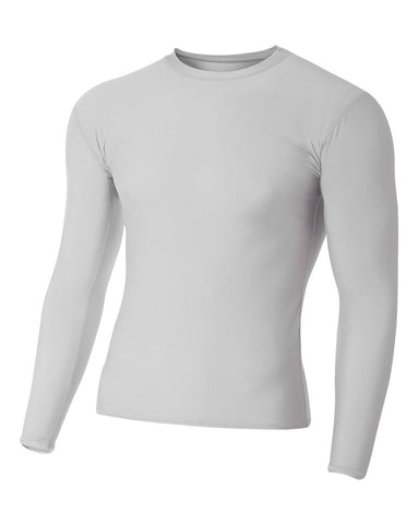 A4 N3133 Long Sleeve Compression Crew - Silver