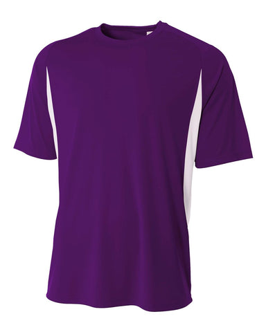 A4 N3181 Cooling Performance Color Blocked Short Sleeve Crew - Purple White