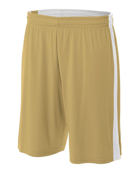 "A4 NB5284 Youth Reversible Moisture Management 8"" Short - Vegas Gold White"