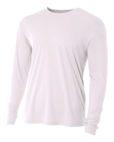 A4 NB3165 Youth Cooling Performance Long Sleeve Crew - White