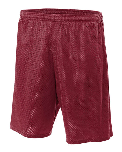 "A4 N5293 7"" Lined Tricot Mesh Shorts - Cardinal"