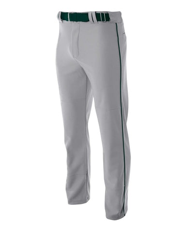 A4 N6162 Pro Style Open Bottom Baggy Cut Baseball Pant - Gray Forest