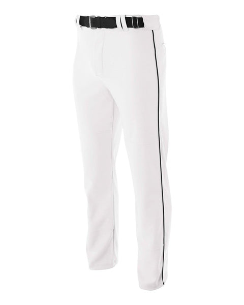 A4 N6162 Pro Style Open Bottom Baggy Cut Baseball Pant - White Black