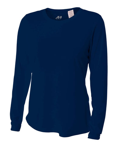 A4 NW3002 Women's Long Sleeve Performance Crew - Navy
