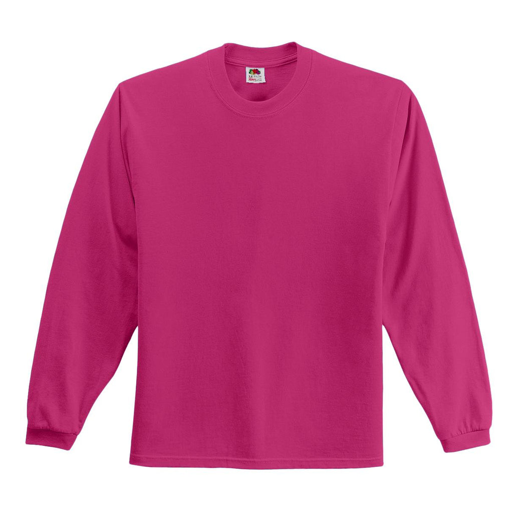 Fruit of the Loom 4930 HD Cotton 100% Cotton Long Sleeve T-Shirt - Cyber Pink - HIT A Double